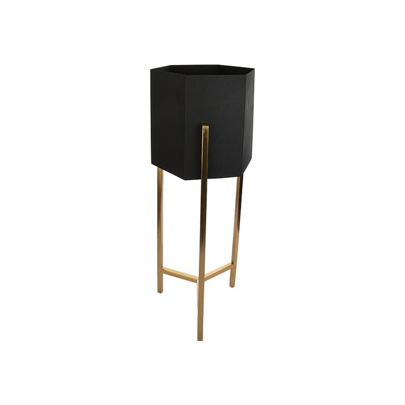 Small Black and Gold Hexagonal Metal Planter -  gold