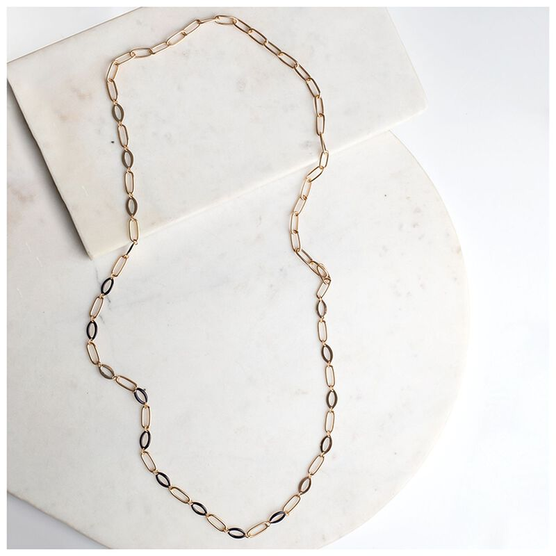 Long Geo Epoxy Necklace -  navy-gold