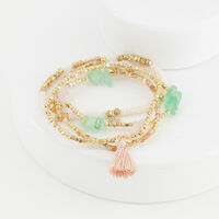 4-Strand Multi-Stone Stretch Bracelet -  green