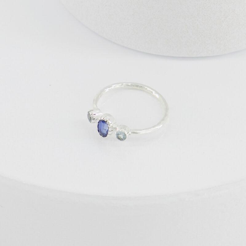 Blue Topaz Trio Silver Ring -  c54