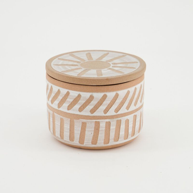 Terracotta Design Large Candle with Lid -  c95