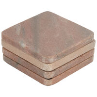 Pink Marble Square Coaster Set -  pink