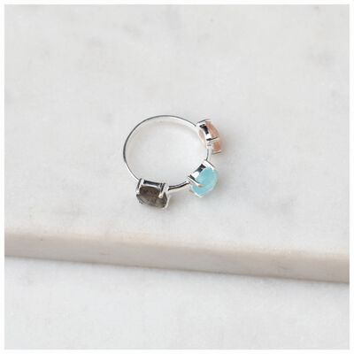 Crystal Trio Silver Ring