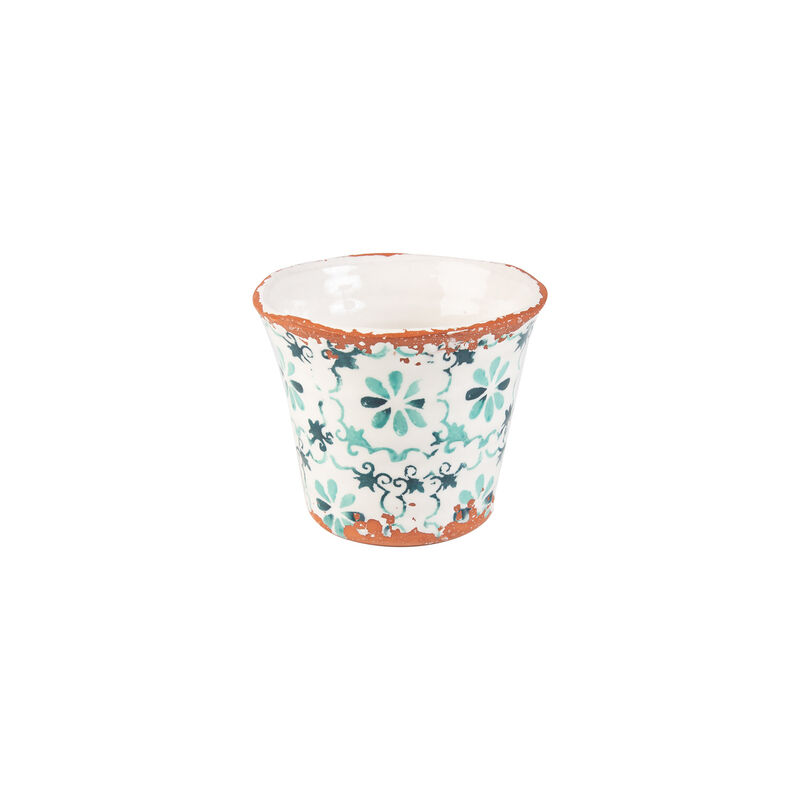 Small Portugal Teal Planter -  teal-white
