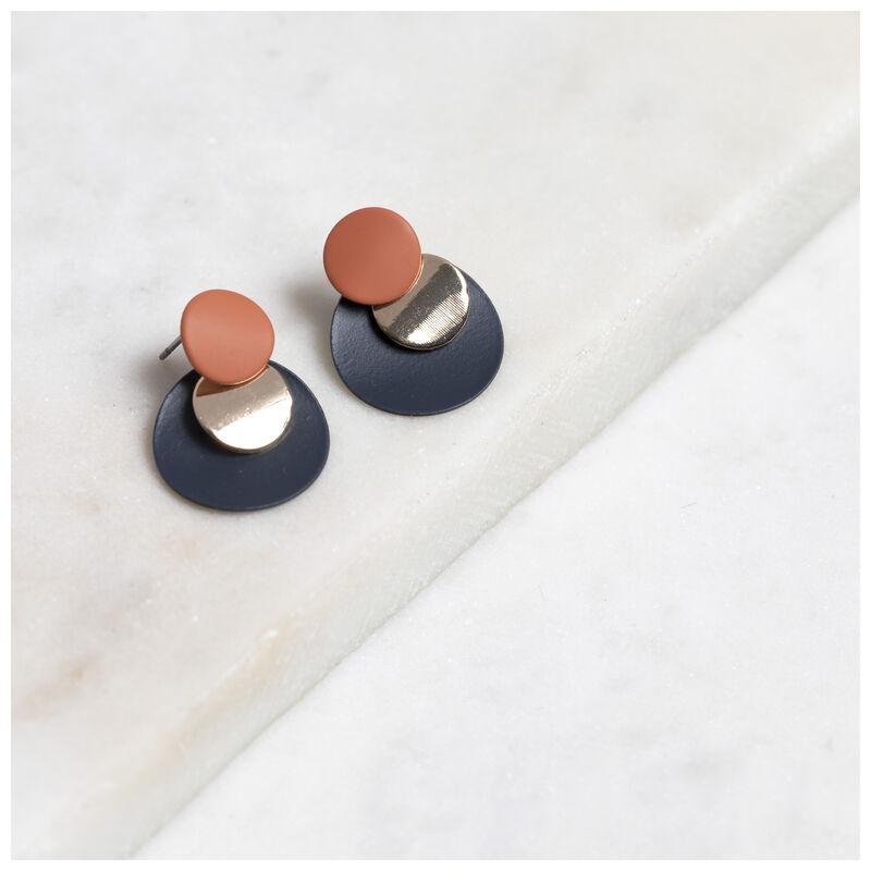 Rubberised Circular Disc Earrings -  navy-rust