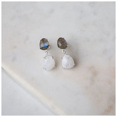 Labradorite & Moonstone Silver Drop Earrings