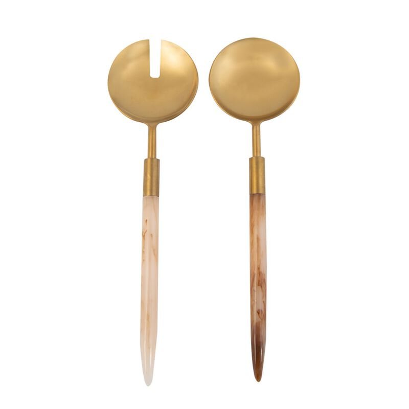 Resin Handle Salad Server Set -  brown-gold