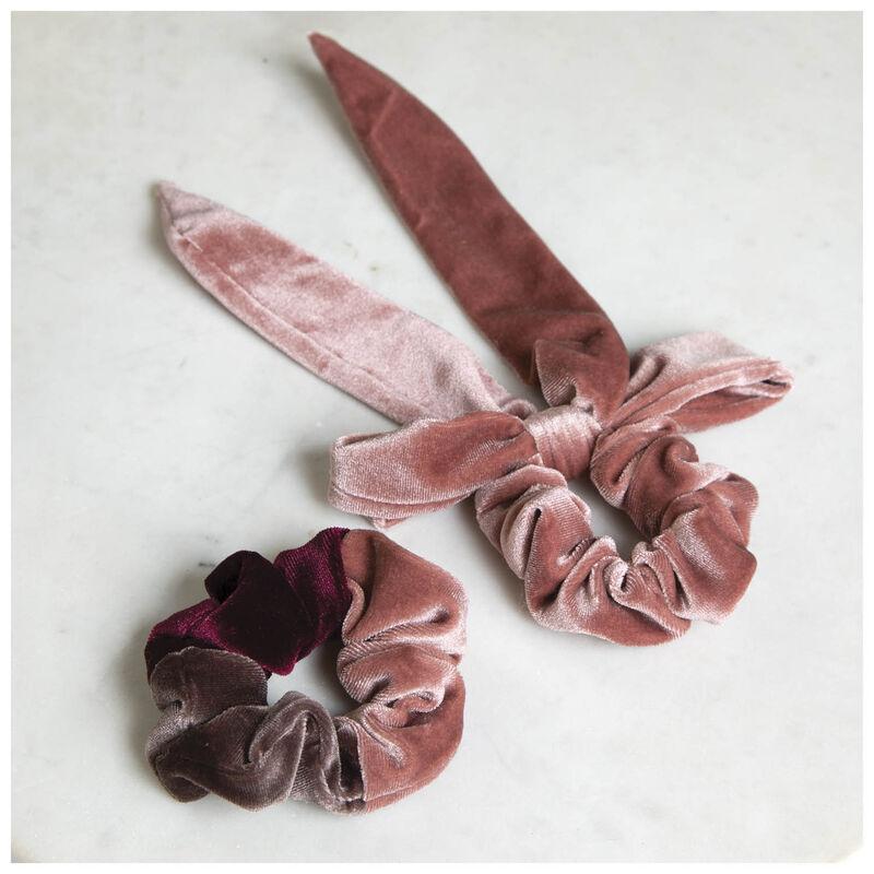 Velvet Scrunchie 2-Pack Set -  pink
