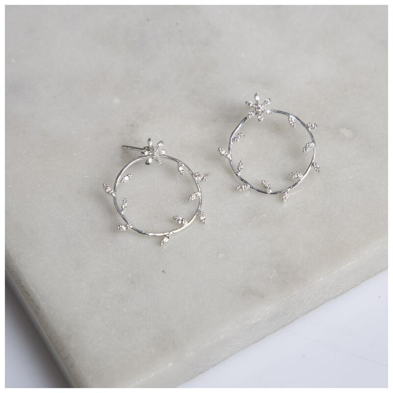 Silver & Cubic Zarconia Flower Wreath Earrings -  silver