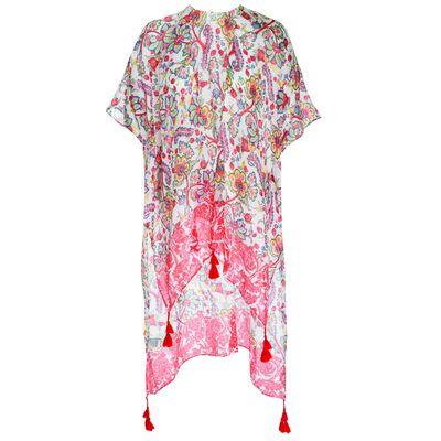 Mariyah Floral Tassle Print Kimono