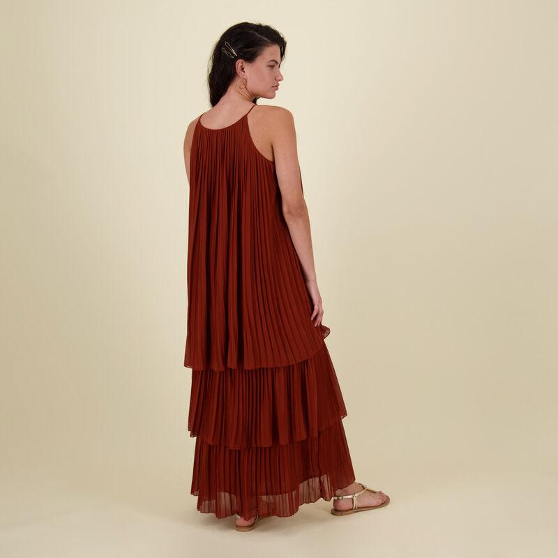 Verena Pleated Dress -  rust