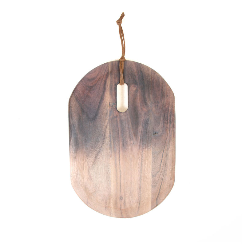 Acacia Two-Toned Lime Wash Oval Serving Board -  driftwood-white