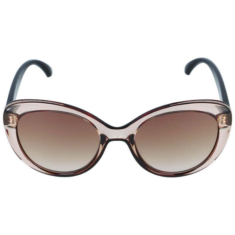 Glitter Inset Catseye Sunglasses -  nude-gold