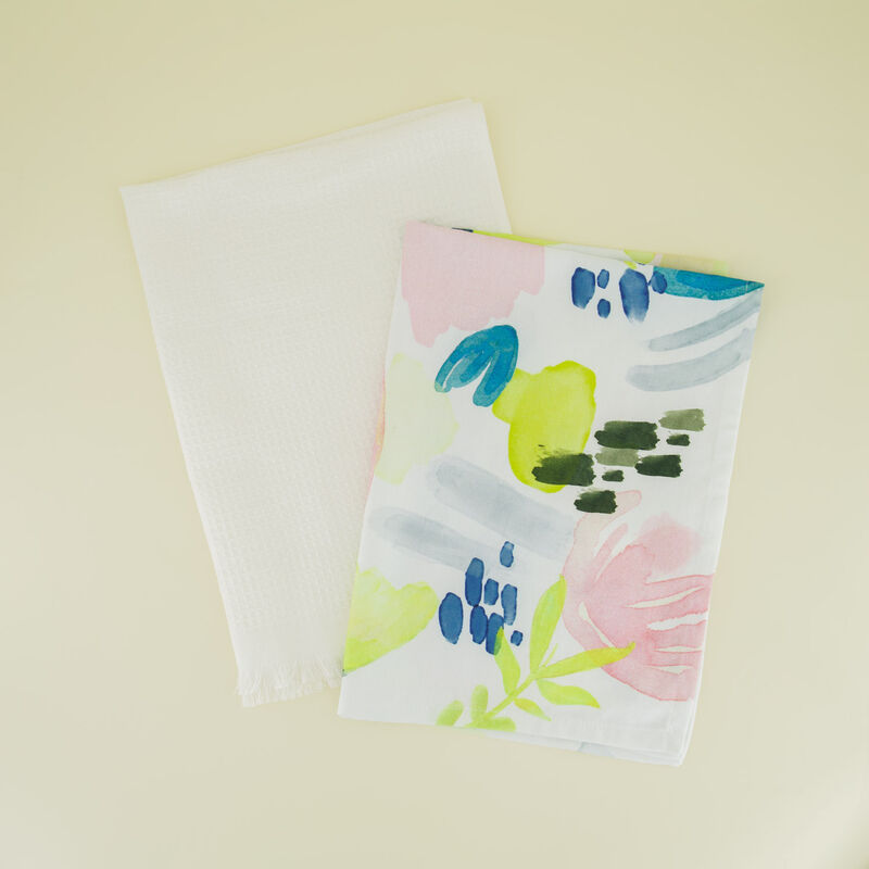 2-Pack Watercolour Waffle Tea Towel -  assorted