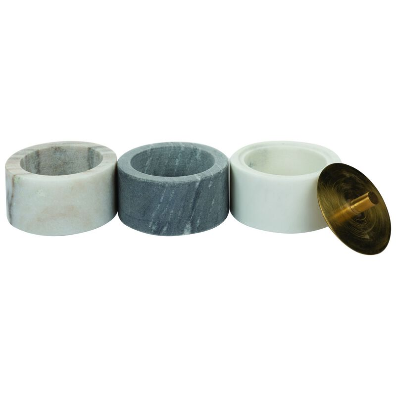White and Grey Marble Cannister Set -  white-grey