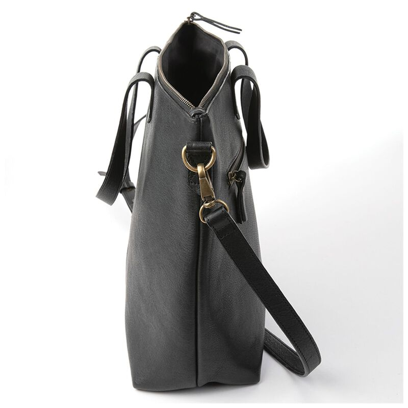 Tatum Leather Shopper Bag -  black