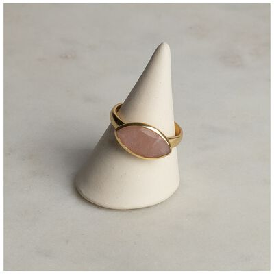 Gold & Peach Moonstone Ring