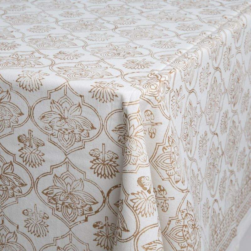 Gold Block print Tablecloth  -  gold-white