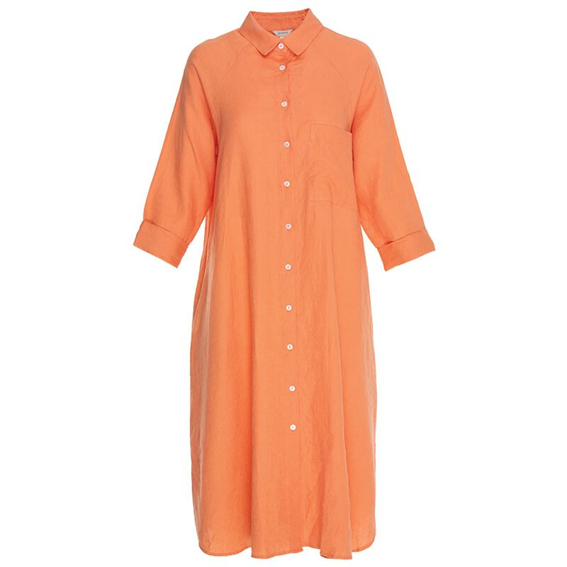 Inaya Shirt Dress -  orange