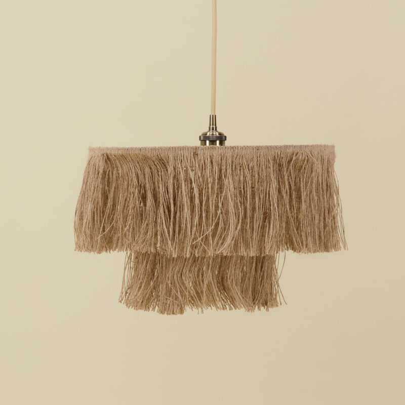 Natural Tiered Lampshade -  oatmeal
