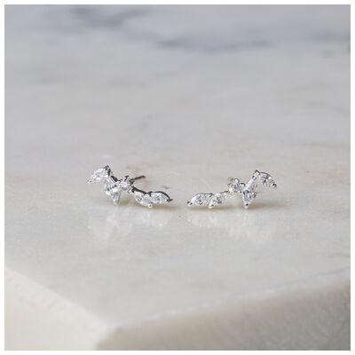 Silver & Clear Crystal Dainty Leaf Earrings