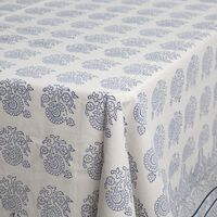 Amrita Navy Embroidered Tablecloth -  navy-white