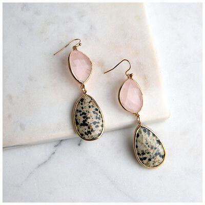 Speckled Natural Stone Drop Earrings