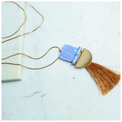 Resin Bar & Tassel Pendant Necklace