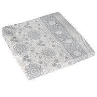Silver Blockprint Tablecloth  -  silver-white