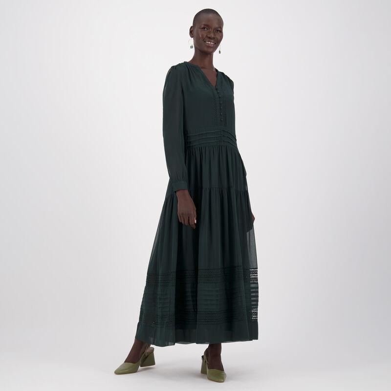 Saphire Pintuck Dress -  bottlegreen