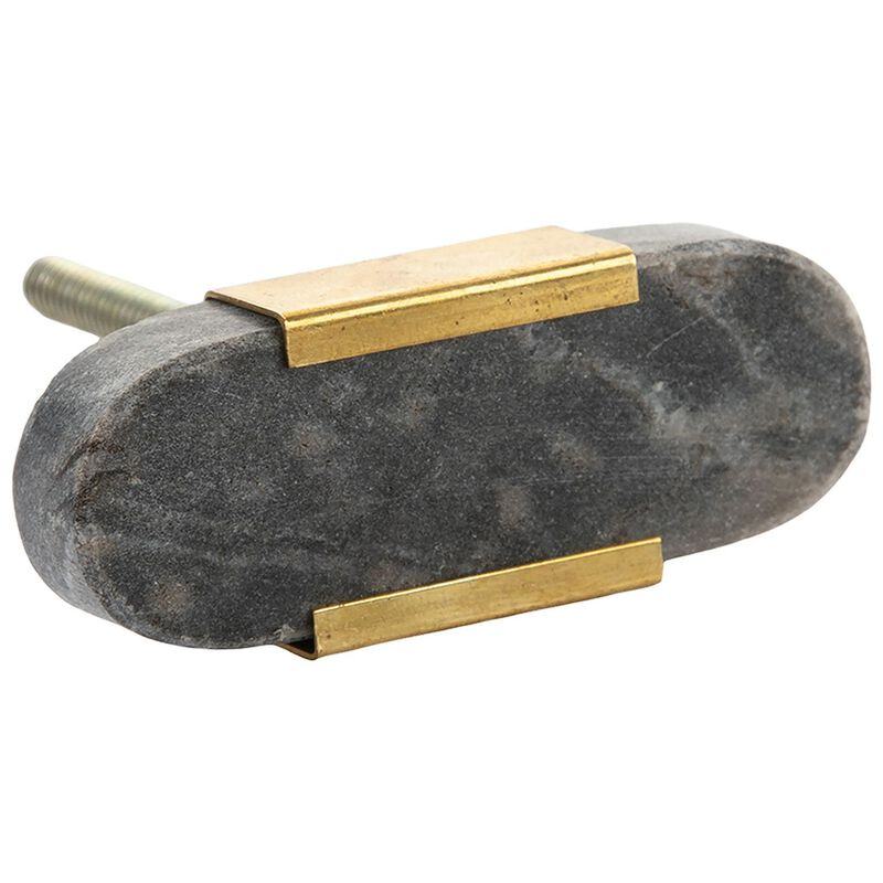 Grey Marble Knob -  grey-gold