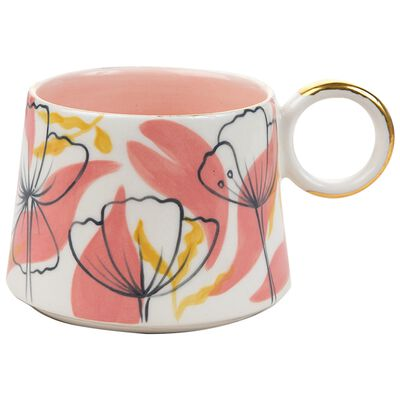 Pink and Ochre Floral Illustration Mug