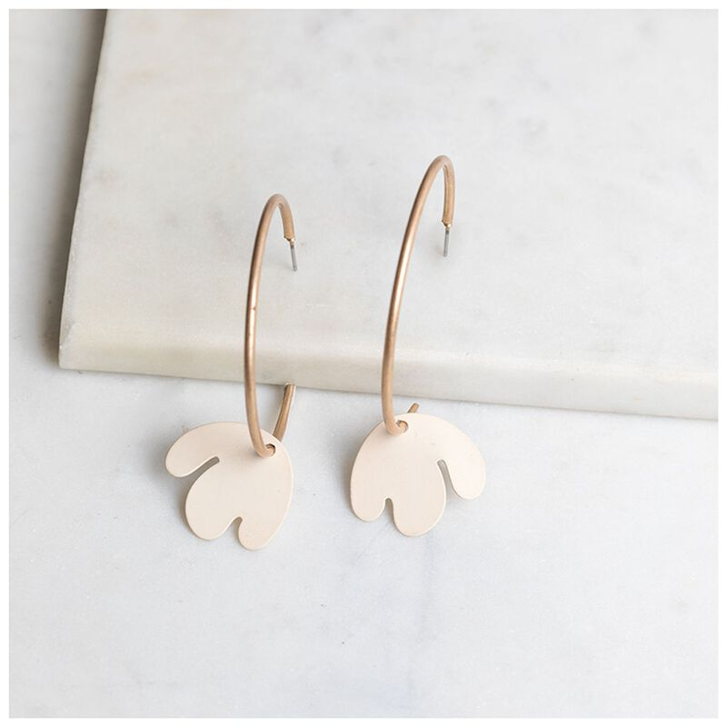 Organic Flower Charm Hoop Earrings -  gold-cream