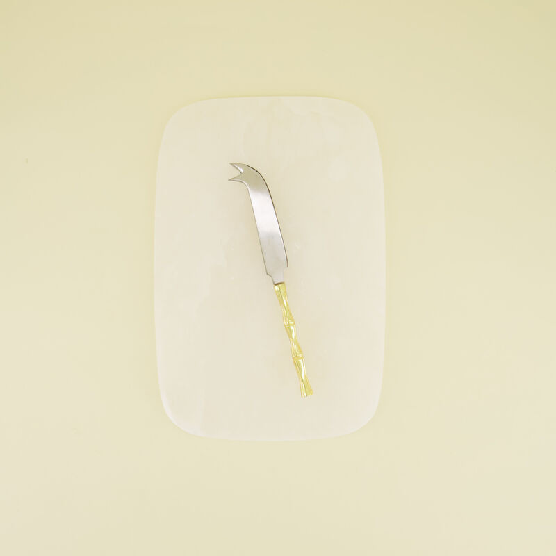 Alabaster Cheese Board with Knife -  white-gold