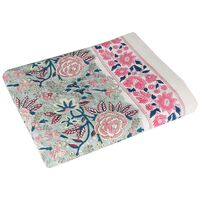 Pink Floral Blockprint Tablecloth -  pink-grey
