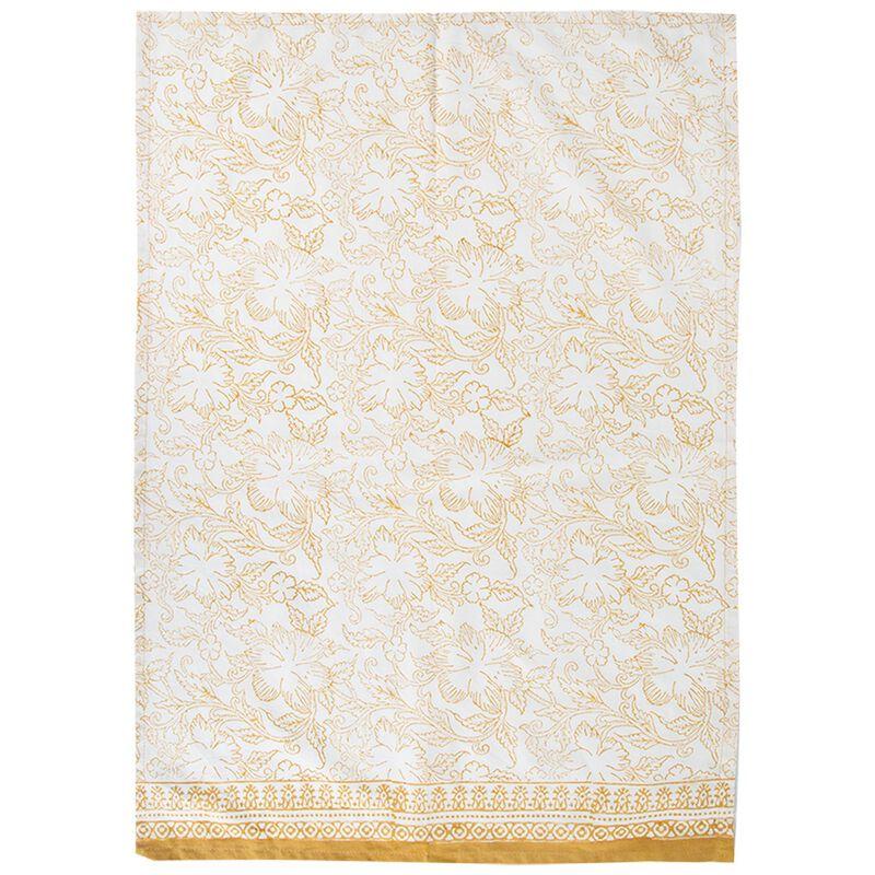 Rust Blockprinted Tea Towel with Tassels -  rust-white
