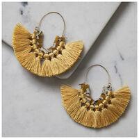 Tassel & Resin Fan Earrings -  yellow