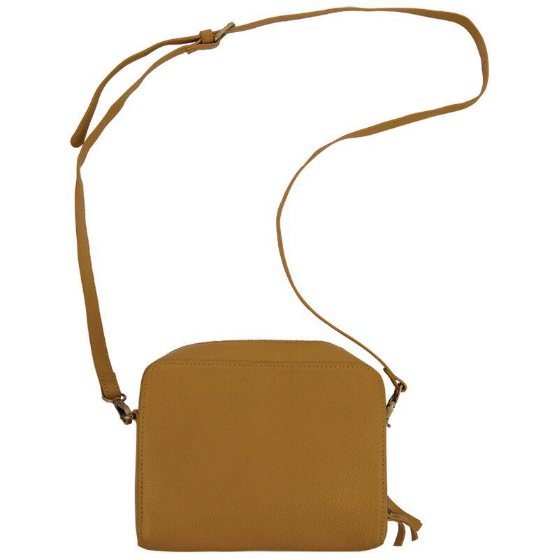 Silvie Boxy Leather Cross Body Bag -  ochre