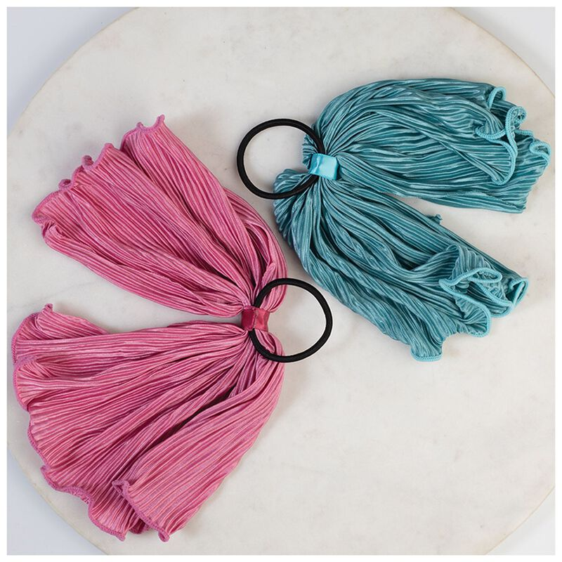 2-Pack Paolia Pleated Hair Tie Set -  pink-teal