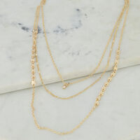 Multi-Layered Teardrop Disk Necklace -  gold