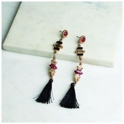 Tassel & Stone Skinny Drop Earrings