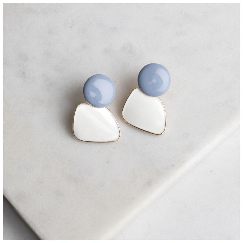 Epoxy Disc Short Earrings -  silver-blue