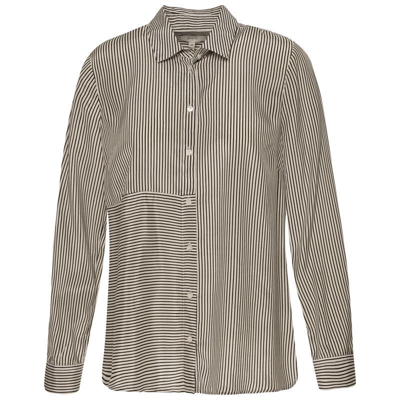 Lily Stripe Button Through Shirt -  black
