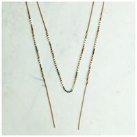 Delicate Beaded Lariat Necklace -  gold-pink