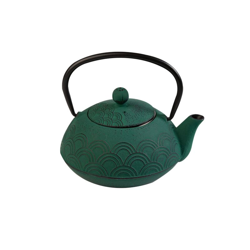 Wave Cast Iron Teapot  -  green