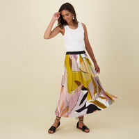 Jemma Printed Pleat Skirt -  pink