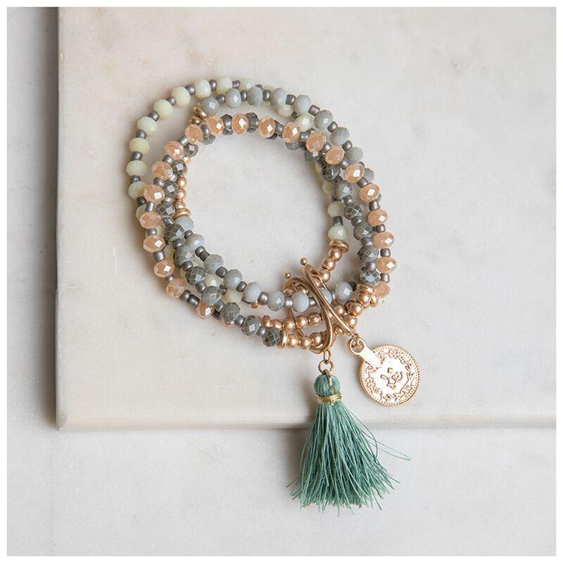 4-Piece Beaded Bracelet Set  -  green