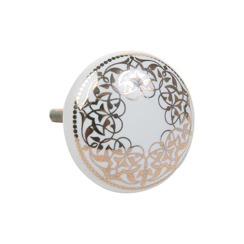 Gold Patterned Knob -  white-gold