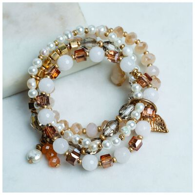 4 Strand Pearl & Bead Stretch Bracelet Set