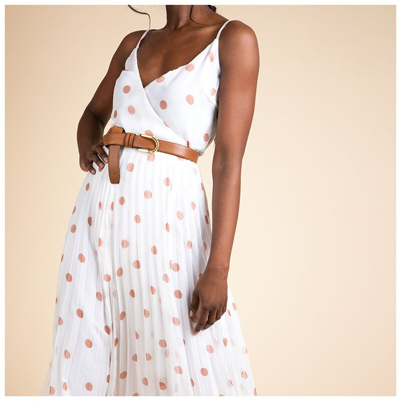 Tina Spot Wrap Dress -  white